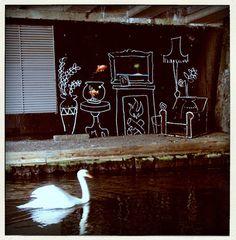 banksy goldfish poladroid by AH McKay Banksy Graffiti, Graffiti Wall Art, Murals Street Art, Street Art Graffiti, Bansky, Urban Street Art, Best Street Art, Urban Art, Street Artists