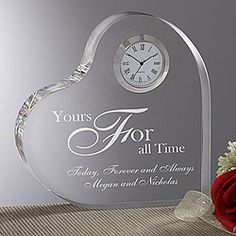 1st Anniversary (Modern - clock) A Time For Love Egraved Heart Clock