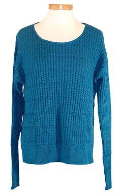 Calvin Klein Jeans Womens Sweater Top Knit Pullover Jumper Blue Sz XL NEW $89.50 #CalvinKlein #ScoopNeck