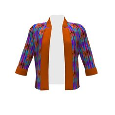 By Hand London Victoria Blazer made with Spoonflower designs on Sprout Patterns. CHEVRONS BLUE SKY FIRE AUTUMN