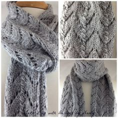 Gray Heather Lace Hand knit extra long and extra soft Lion Brand Yarn