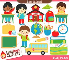 Back to School Clip Art and Blacklines  by LittleRedsClipArt