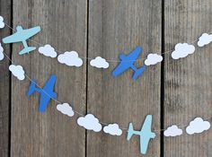 Airplane and clouds paper Garland - custom colors available - great for Disney Planes party, Aviation themes Airplane Baby Shower, Baby Boy Shower, Disney Planes Party, Disney Frames, Aviation Theme, Planes Birthday, Mothers Day Crafts For Kids, Birthday Decorations, Room Decorations