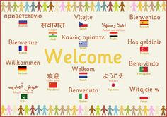 Multilingual 'Welcome' Poster. featuring the word 'welcome' in a variety of different languages. Find thousands more resources just like it at Early Learning HQ. European Day Of Languages, Europe Day, British Values, Sign Language Phrases, Welcome Poster, Primary Teaching, Teaching English, Different Languages, Classroom Displays