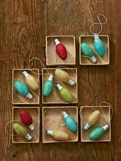 We turned old night-light bulbs into festive ornaments, but any size will do. Just brush on glittering glue, roll the bulb in glitter, and let dry for 15 minutes. Then hot-glue a loop of metallic embroidery floss to the bulb's base.