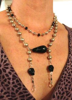 Pearl and skull beaded necklace by LincolnStreetDesign on Etsy, $50.00