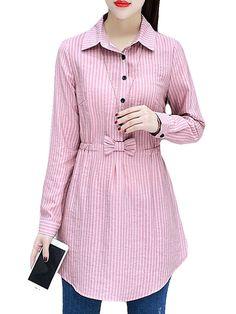 Striped Elastic Waist Turn-down Collar Shirt Kurti Designs Party Wear, Kurta Designs, Blouse Designs, Stylish Dresses For Girls, Stylish Dress Designs, Kurta Neck Design, Sleeves Designs For Dresses, Pakistani Dresses Casual, Mode Hijab