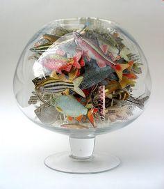 Anita Francis, Book artist - Colorful paper fish in glass