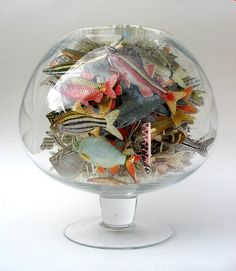 Anita Francis, Book artist - Colorful paper fish in glass