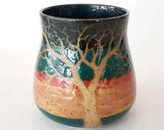 Colorful Sgraffito Stoneware Tree Mug - Handmade Functional Ceramic Art by Katherine by MuddyRaven on Etsy