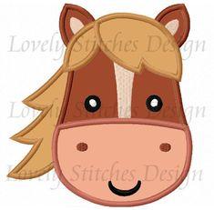 Horse Face For Girls Applique Machine Embroidery Design Felt Patterns, Applique Patterns, Applique Quilts, Applique Designs, Embroidery Applique, Machine Embroidery Designs, Horse Birthday, Farm Birthday, Farm Quilt