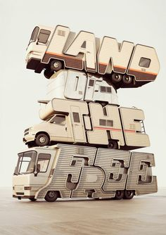 rv trailer with typography: land of the free by chris labrooy