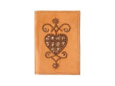 Pearls and sequins hand embroidered leather Passport cover by Pascale Théard