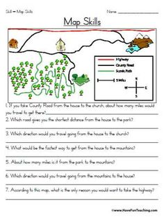 Worksheets Map Skills Worksheets 3rd Grade my neighborhood map social studies look at and math worksheets skills worksheet