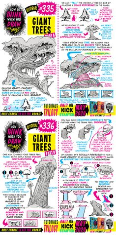 How to THINK when you draw GIANT TREES tutorial! by EtheringtonBrothers on DeviantArt - therezepte sites Manga Drawing Tutorials, Drawing Techniques, Drawing Tips, Art Tutorials, Trees Drawing Tutorial, Landscape Drawing Tutorial, Art Reference Poses, Drawing Reference, Realistic Drawings
