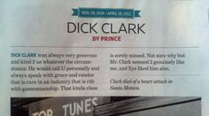 Here's Prince's brief obituary for Dick Clark in the new issue of Entertainment Weekly… | Prince's 58-Word Dick Clark Tribute