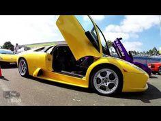 A fleet of Lamborghinis, Ferraris, Aston Martins, Mustangs, and Corvettes at the first Dream Ride Australia.