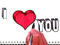 How to Draw I Love You with Heart in 3D