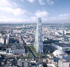 The towering, triangular glass structure will feature a 120-room hotel, and 753,470 square...