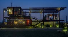Shipping container house at night Container Home Designs, Small Tiny House, Tiny Houses, Real Estate Prices, Unusual Buildings, Container Architecture, Student House, Loft, Shipping Container Homes