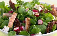 Gemischter Blattsalat mit Hähnchen und Radieschen - Kohlenhydratfreie Rezepte für die Low carb Diät