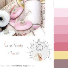 Color Palette of 17 Marzo 2014-Spools of thread color pastel http://graficscribbles.blogspot.it/2014/03/palette-colori-rosa-mercato-antiquario-Lucca.html