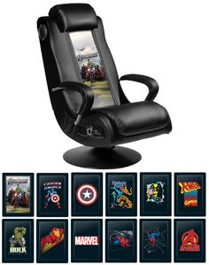 Marvel-Licensed Leather Chairs - This is a series of faux-leather gaming chairs from DreamSeat with licensed Marvel character back graphics. | via geekologie.com | #Furniture #Chairs #InteriorDesign