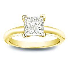 Auriya 14k Gold 1ct TDW Princess-cut Diamond V-End Solitaire Engagement Ring (J-K, I1-I2) ( Gold - Size ), Women's