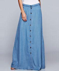 Look at this #zulilyfind! Medium Blue Denim Button-Front Maxi Skirt by Lydiane #zulilyfinds