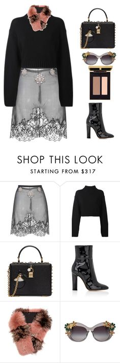 """""""Untitled #1763"""" by candicedinh ❤ liked on Polyvore featuring Francesco Scognamiglio, DKNY, Dolce&Gabbana, Gianvito Rossi and Fendi"""