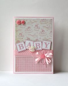 Baby Card measures 5 x 7 and comes with an envelope. Inside of card is left blank for your message.