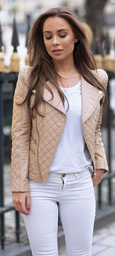Camel quilted moto jacket paired with all white