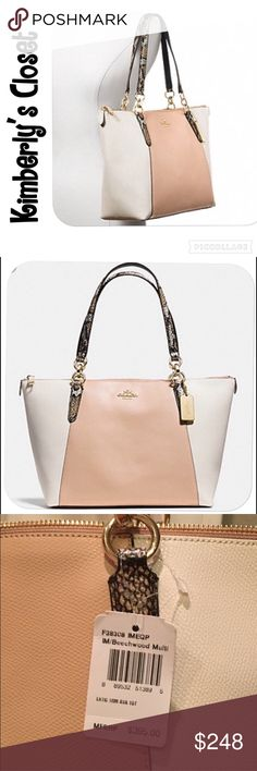 """✨COACH✨ Tote 💯% AUTHENTIC COACH AVA TOTE IN EXOTIC TRIM LEATHER.  Purse is tan color (beechwood) in the center both front and back and light cream color on the sides.  Handles are python embossed.  Inside zip, cell phone and multifunction pockets.  Gold tone hardware.  Zip closure, fabric lining Handles with 9 drop.  Measures 16.75"""" (L) x 10"""" (H) x 5 (deep).  Brand new with tags!  This bag is a classy, statement piece whose neutral colors look great with any outfit in any season. Coach Bags…"""