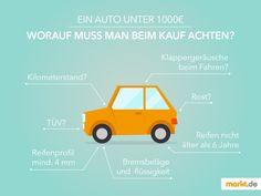 Das tausend Euro Auto | markt.de In dem Ratgeber erfährst Du, worauf man beim Kauf von einem Auto unter 1000€ achten muss. #auto #autokauf #infografik #fakten #ratgeber