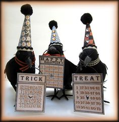 Spunky crows! Like what the fun hats do to lighten the creepiness.... new advertising idea for the freak show taxidermy tent at roll up circus ...clown crowa act went down so well we stuffed them and used them as promotional gimmick when they all sadly died in a freak escapology trick