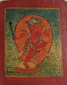 17th century Initiation card-LION OR BIRD HEADED - leopards or tigers skin, dead body draped Tibet. Bardo?  dakini (?)