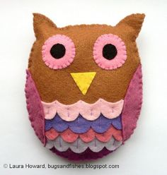 Wool Felt Owl Plushie Pattern by Bugs and Fishes - Plushie Patterns & Rag Dolls