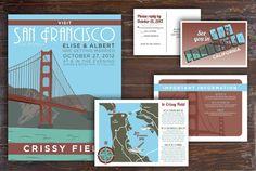 CUSTOM Vintage Travel Wedding Invitation Poster - Choose YOUR destination (san francisco, california)