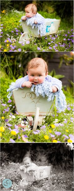 5 month old (6 month old) baby photography prop. Wheelbarrow in Garden. Spring. Cute baby boy.
