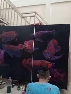 Omens liu arwana painting