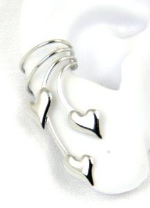 Sterling Silver Puffed Hearts Long Ear Cuff Earring Right Made in USA - This elegant ear cuff is a perfect Valentine's Day gift for the sweetheart with unique style.  $31.00