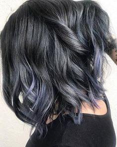 Best Hair Color Ideas 2017 / 2018 blue steel hair color - All For Hair Color Balayage Ombre Hair Color, Hair Color Balayage, Cool Hair Color, Brown Hair Colors, Hair Colour, Purple Hair, Blue Steel Hair, Black Hair, Medium Hair Styles