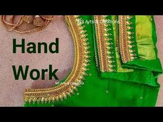 Aari Design With Normal Needle Stitch Bridal Blouse Designs, Blouse Neck Designs, Hand Embroidery, Embroidery Designs, Aari Work Blouse, Saree Blouse, Boat Neck, Simple Designs, Stitch