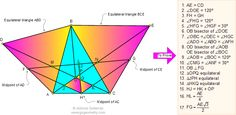 Geometry Problem 50. Triangle with Equilateral triangles, Midpoint, Perpendicular, Intersecting Lines, Congruence, 30,60, 120 Degrees, Angle Bisector, 17 Conclusions. Level: High School, College, Math Education.