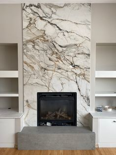 Stone Tile Fireplace, Fireplace Feature Wall, Granite Fireplace, Fireplace Tile Surround, Linear Fireplace, Home Fireplace, Marble Fireplaces, Fireplace Remodel, Modern Fireplace