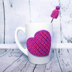 Кружка и чайная ложечка с декором из полимерной глины отличный подарок к 8 марта🌹🌹🌹