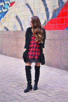 Slip dress + OTK boots via A Lo Profile