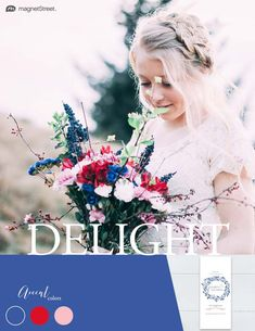 Wedding Color Trends! Delight color scheme for Summer: Classic Blue, Scarlet, and Carnation. Check out more fantastic color combos at MagnetStreet.com!