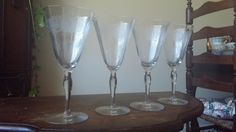 Rare needle etched Tiffin Franciscan crystal goblets set of       four