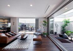 旭化成ヘーベルハウス「FREX」のモデルホーム 草津住宅公園 ABCハウジング Minimalist House Design, Minimalist Home, Chic Living Room, Living Room Decor, Living Room Designs, Living Spaces, Japan Interior, Casa Patio, Apartment Interior Design